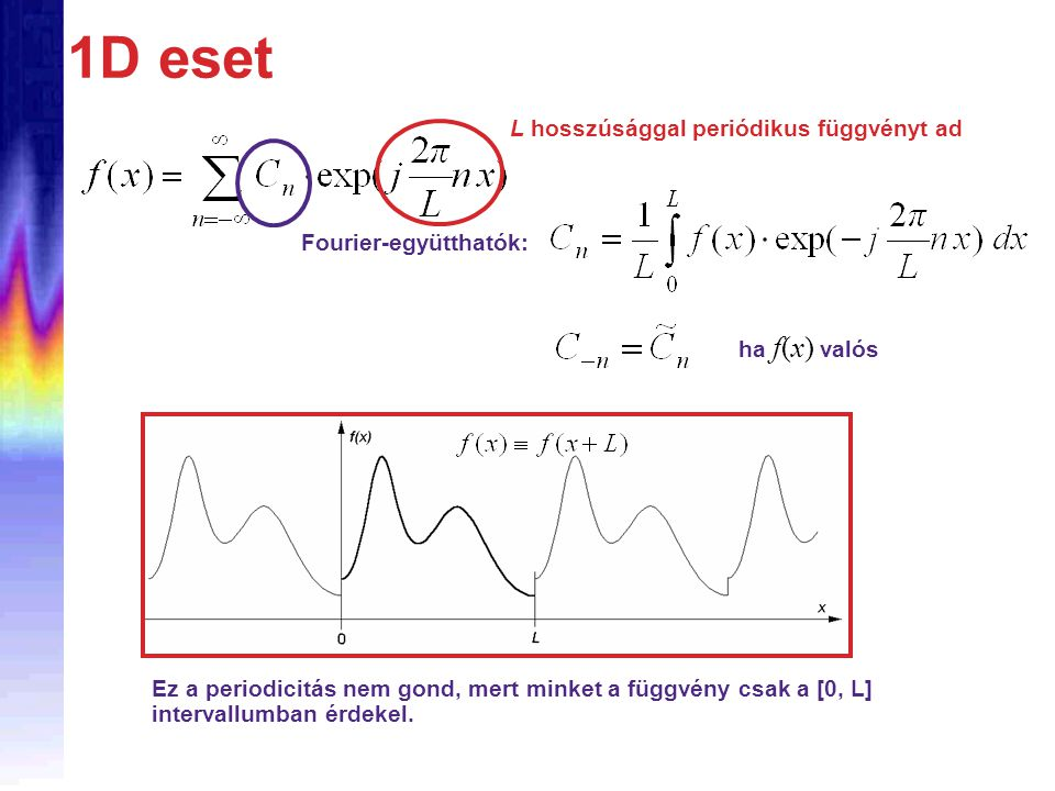 1D eset L hosszúsággal periódikus függvényt ad Fourier-együtthatók: