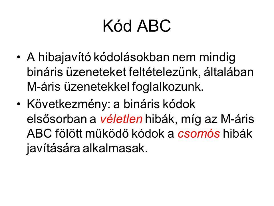Kód ABC A hibajavító kódolásokban nem mindig bináris üzeneteket feltételezünk, általában M-áris üzenetekkel foglalkozunk.