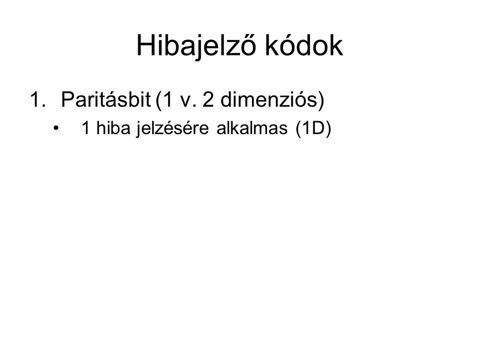Hibajelző kódok Paritásbit (1 v. 2 dimenziós)