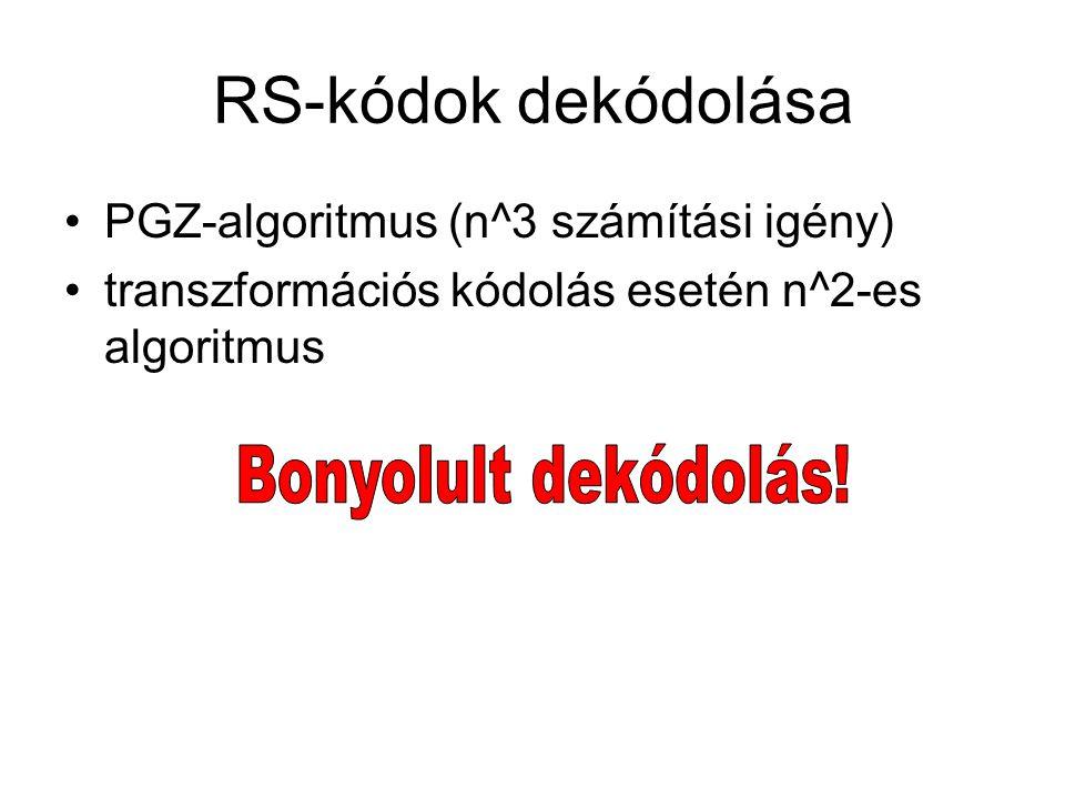 RS-kódok dekódolása Bonyolult dekódolás!