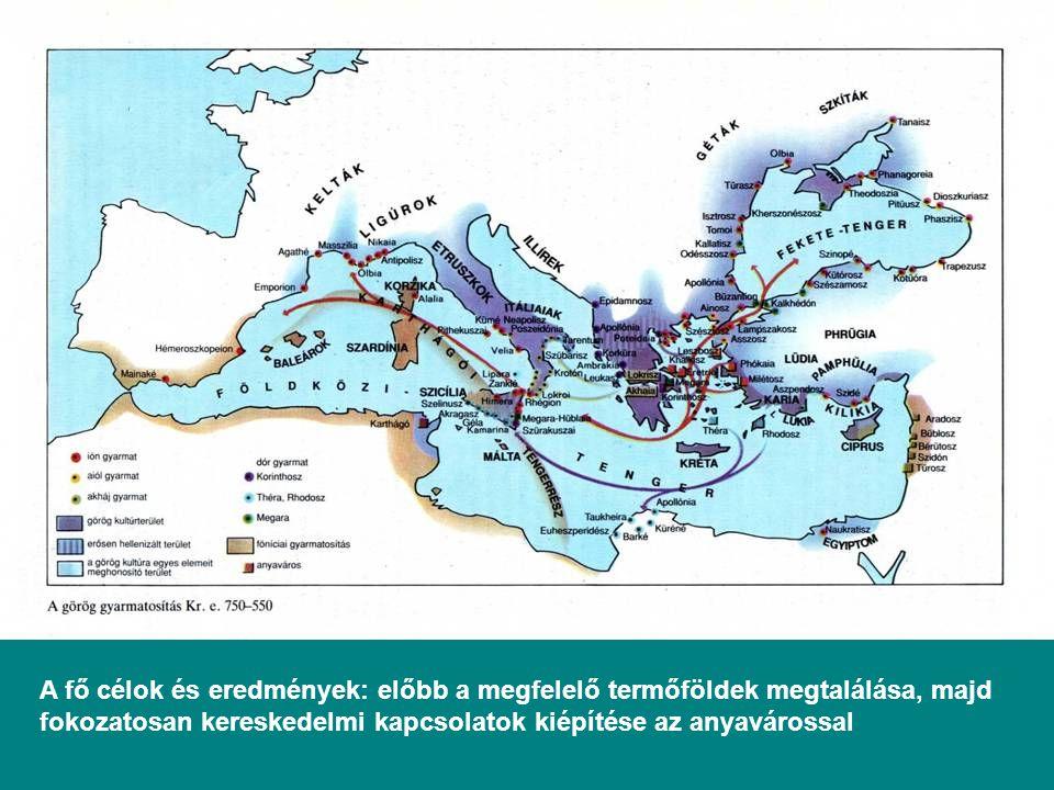 A fő célok és eredmények: előbb a megfelelő termőföldek megtalálása, majd fokozatosan kereskedelmi kapcsolatok kiépítése az anyavárossal