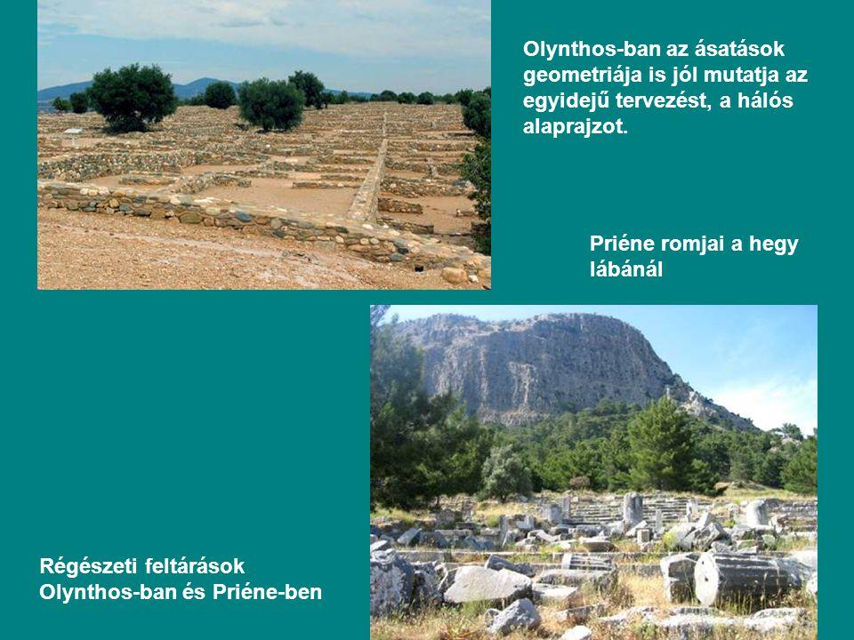 Olynthos-ban az ásatások geometriája is jól mutatja az egyidejű tervezést, a hálós alaprajzot.