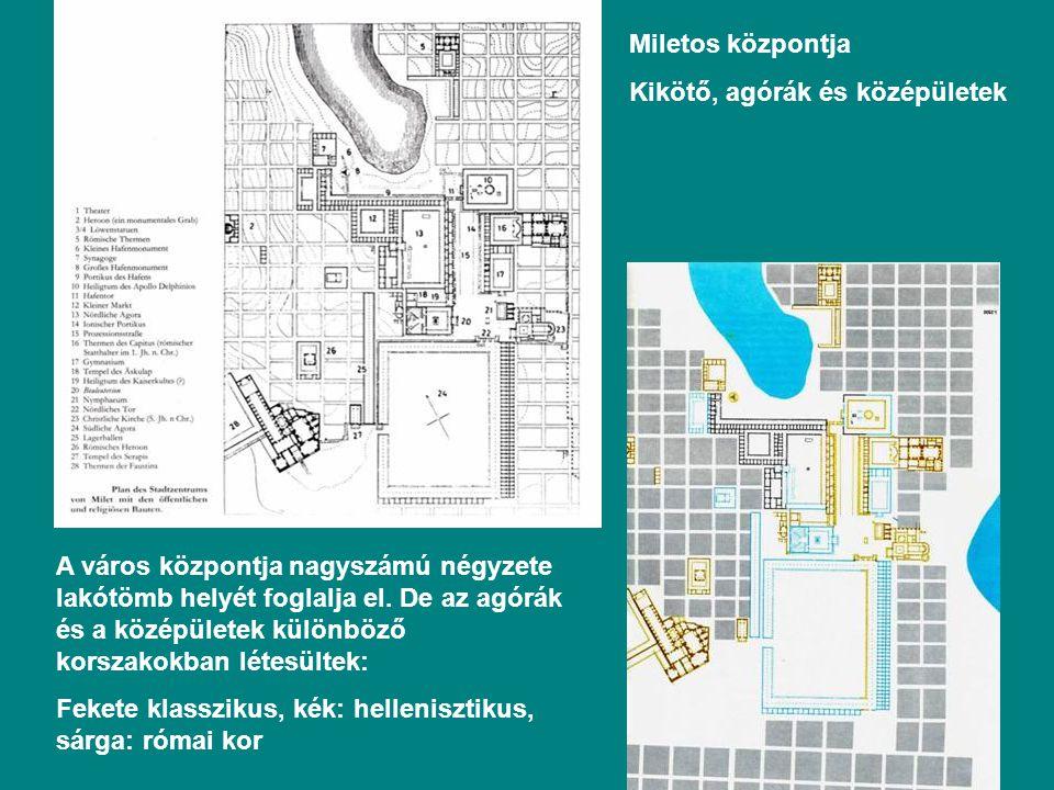Miletos központja Kikötő, agórák és középületek.