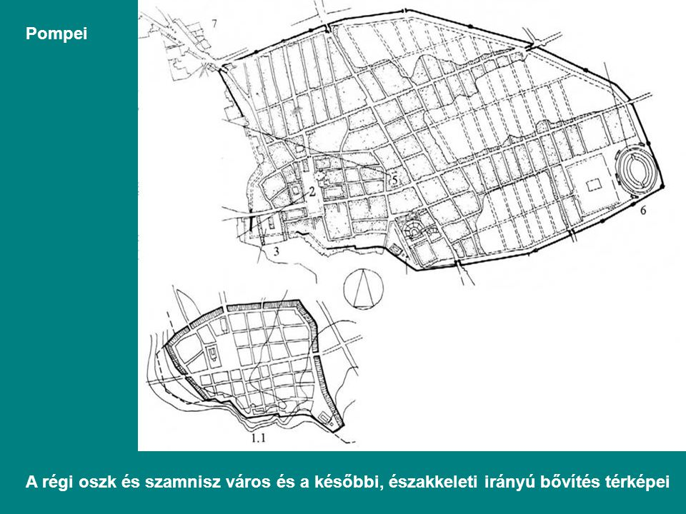 Pompei A régi oszk és szamnisz város és a későbbi, északkeleti irányú bővítés térképei