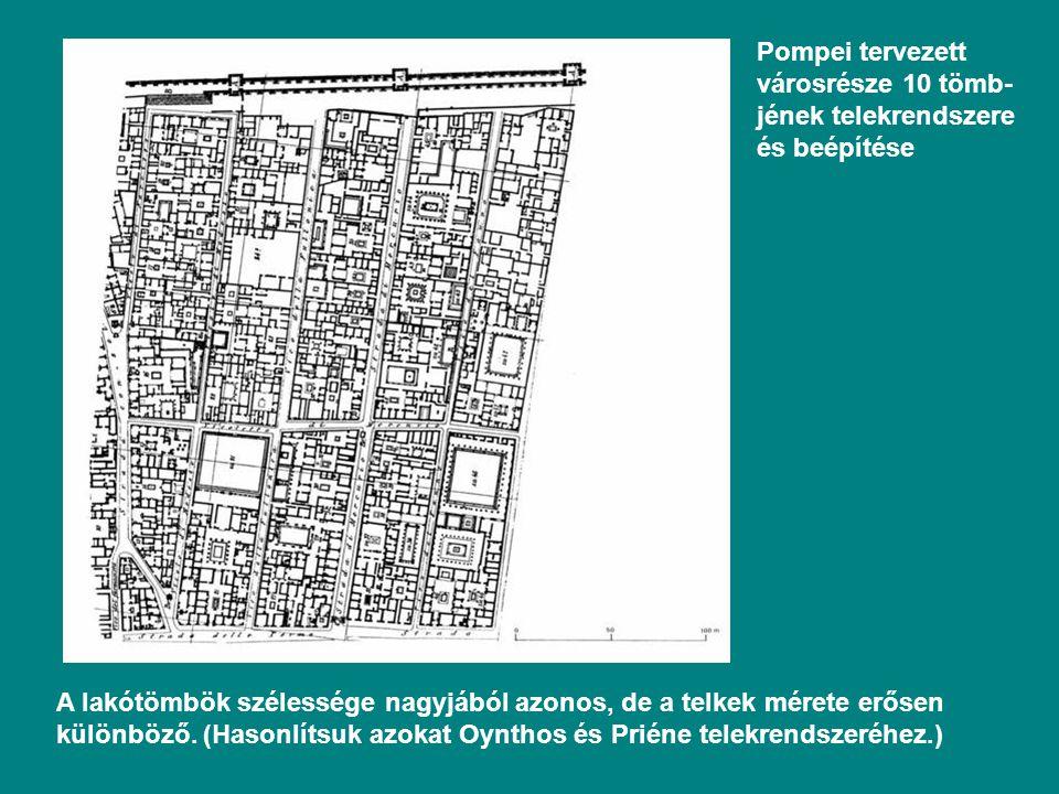 Pompei tervezett városrésze 10 tömb-jének telekrendszere és beépítése