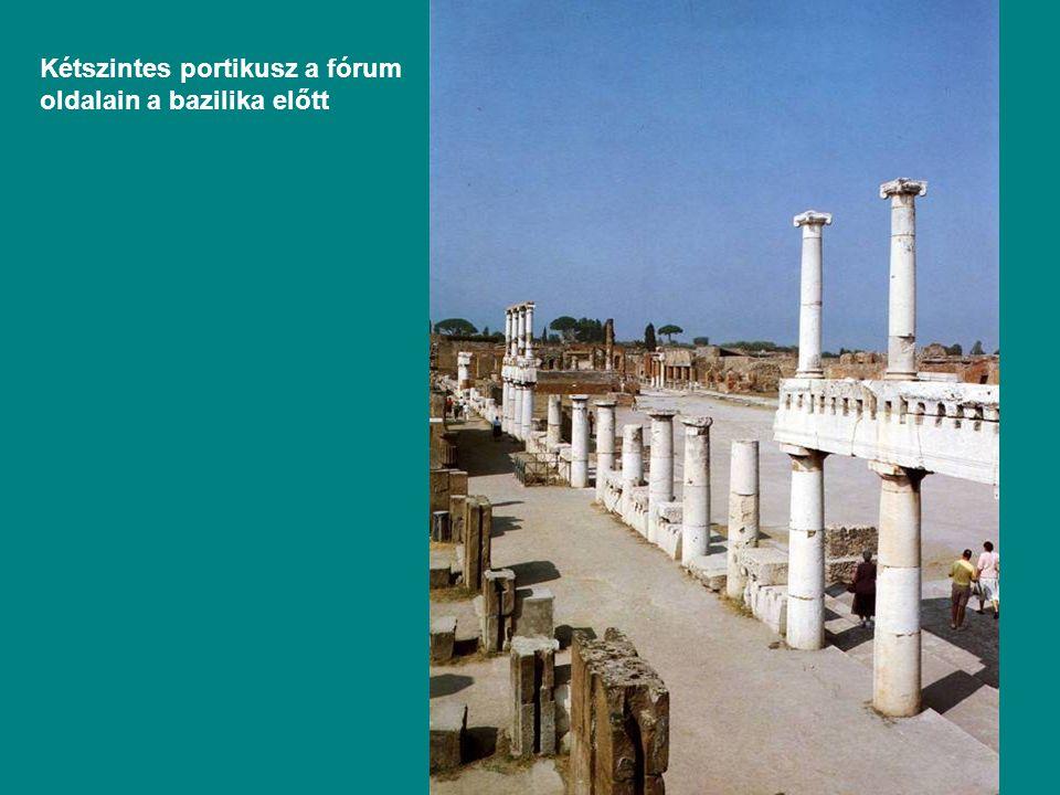 Kétszintes portikusz a fórum oldalain a bazilika előtt