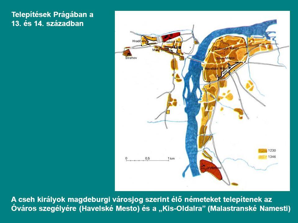 Telepítések Prágában a 13. és 14. században
