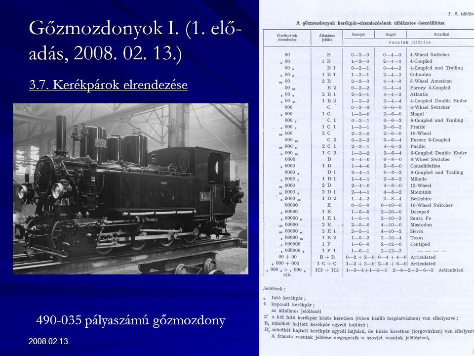 Gőzmozdonyok I. (1. elő-adás, 2008. 02. 13.)