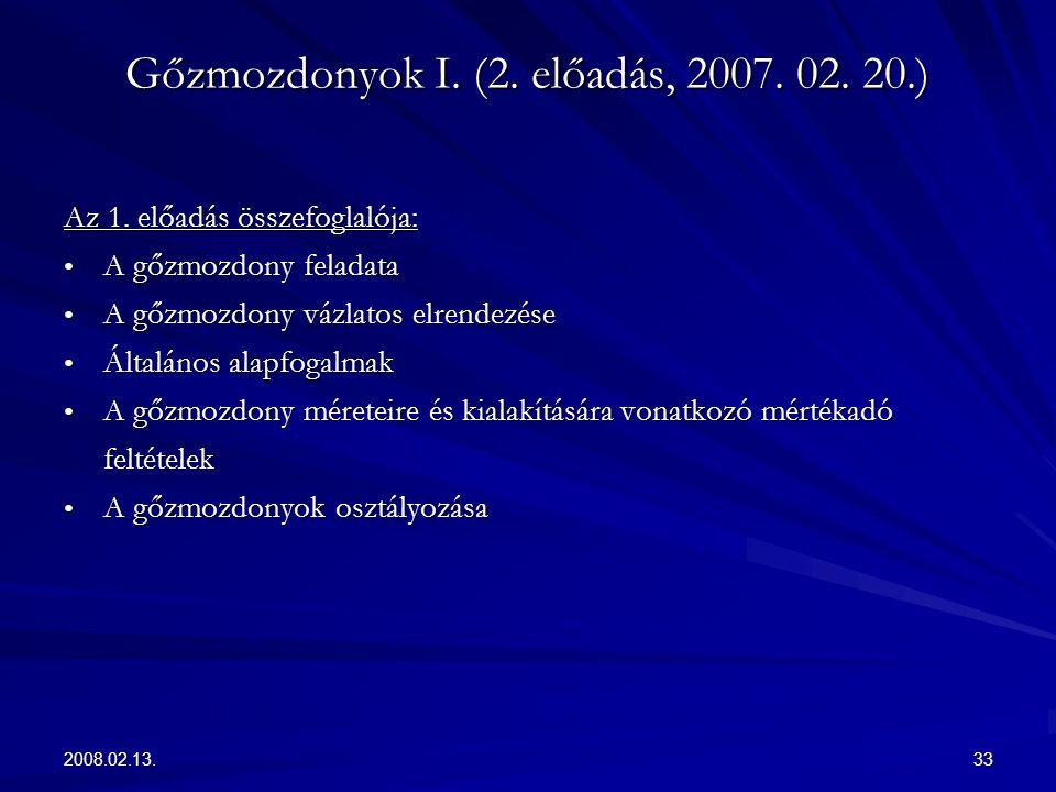 Gőzmozdonyok I. (2. előadás, 2007. 02. 20.)