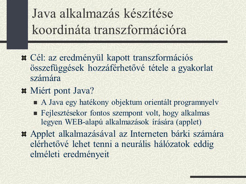 Java alkalmazás készítése koordináta transzformációra