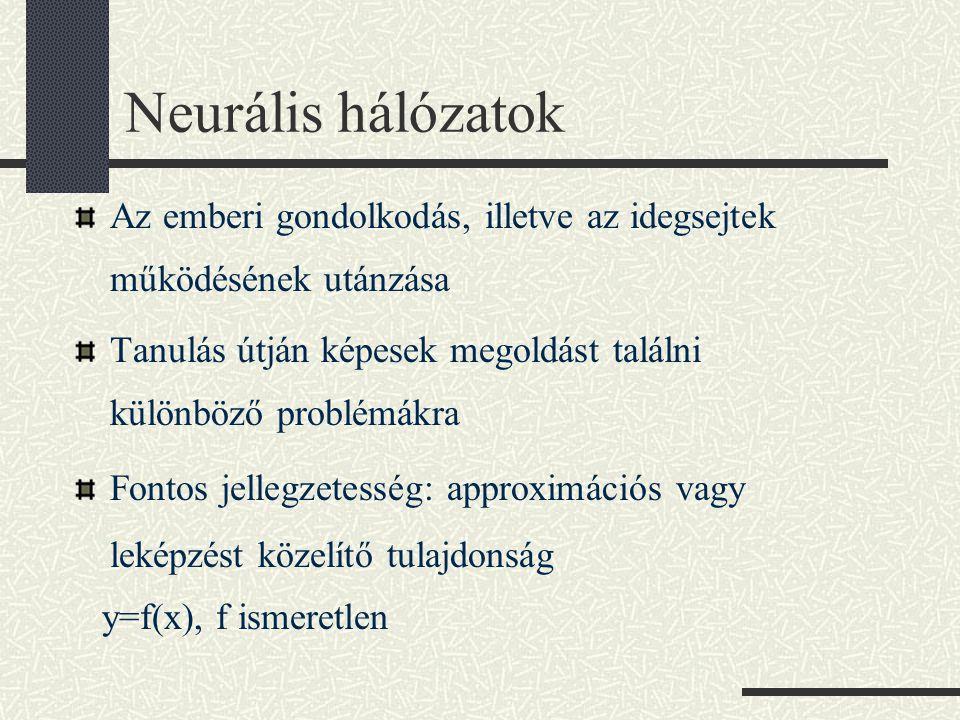 Neurális hálózatok Az emberi gondolkodás, illetve az idegsejtek működésének utánzása. Tanulás útján képesek megoldást találni különböző problémákra.