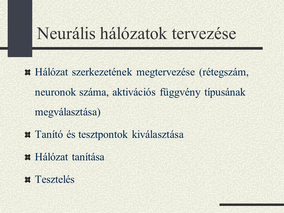 Neurális hálózatok tervezése