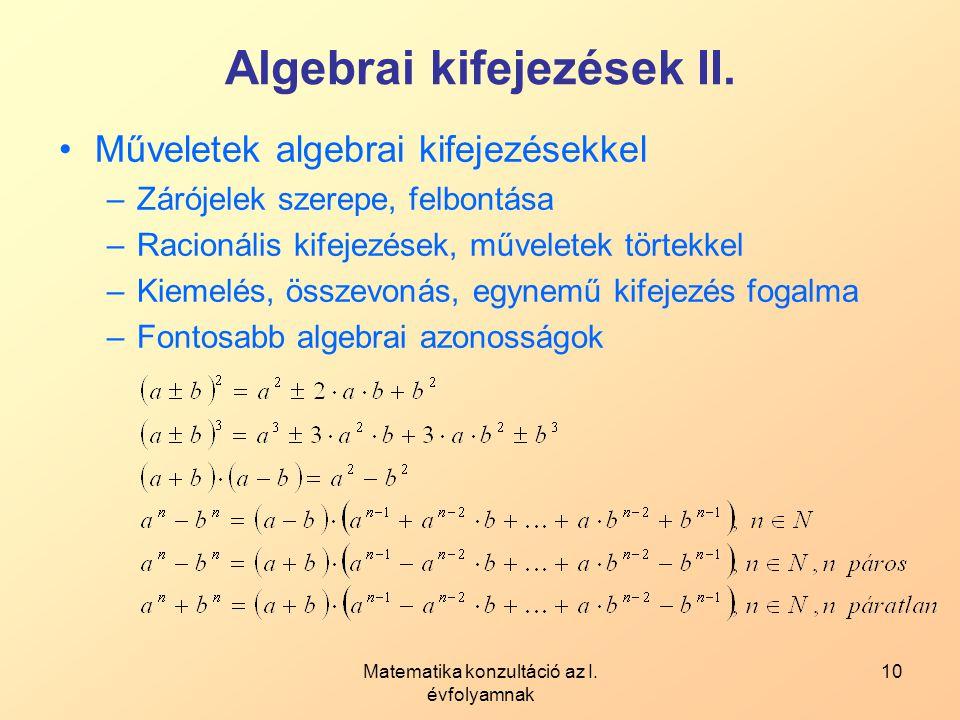 Algebrai kifejezések II.