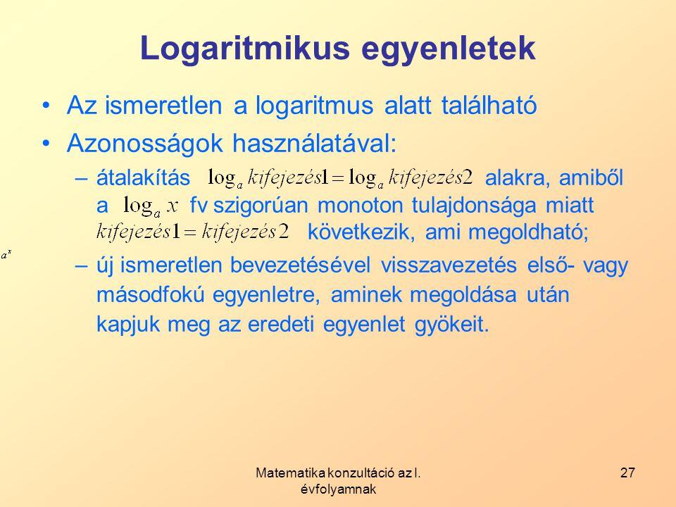 Logaritmikus egyenletek
