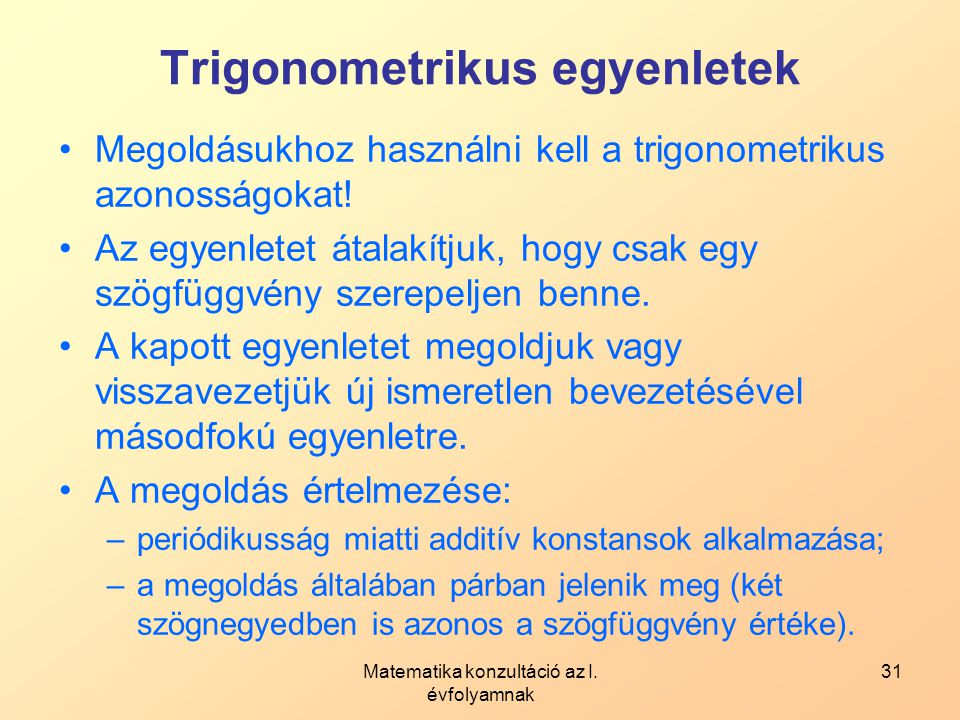 Trigonometrikus egyenletek