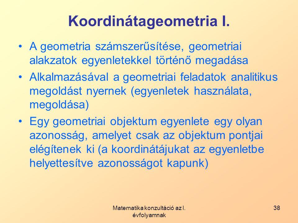 Koordinátageometria I.