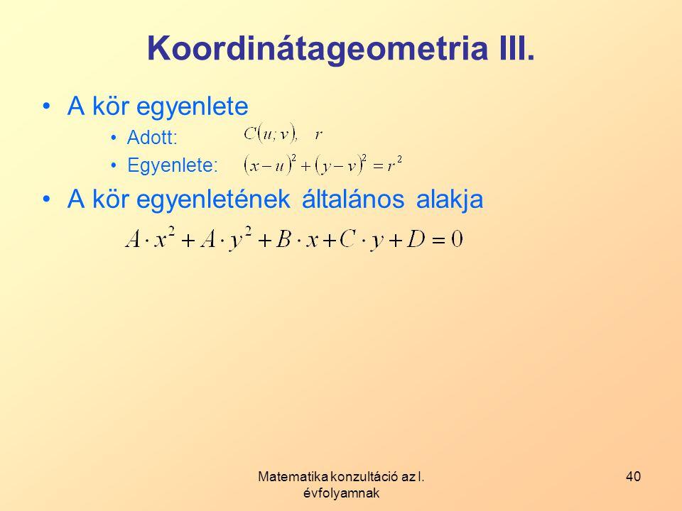 Koordinátageometria III.