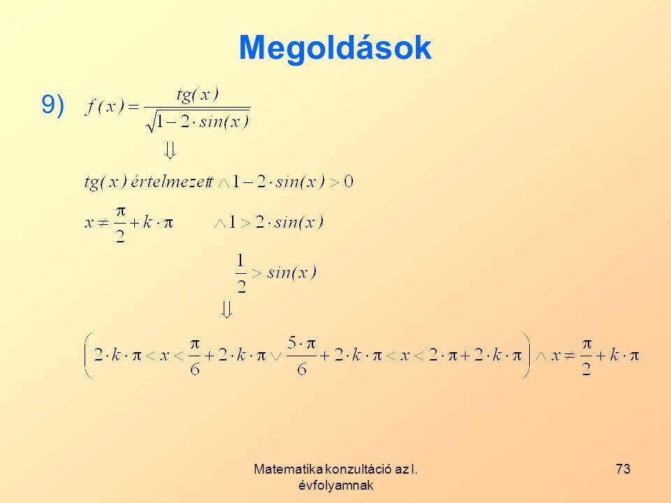 Matematika konzultáció az I. évfolyamnak