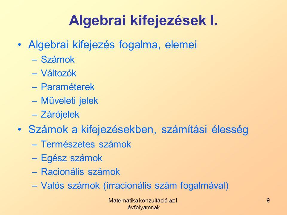 Algebrai kifejezések I.