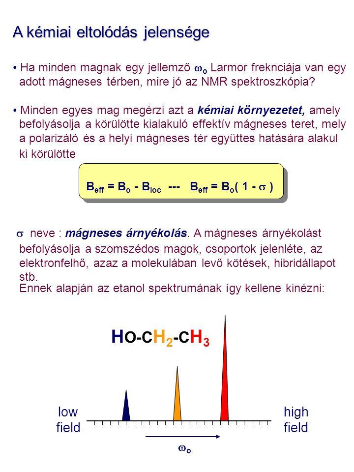 HO-CH2-CH3 A kémiai eltolódás jelensége low field high field