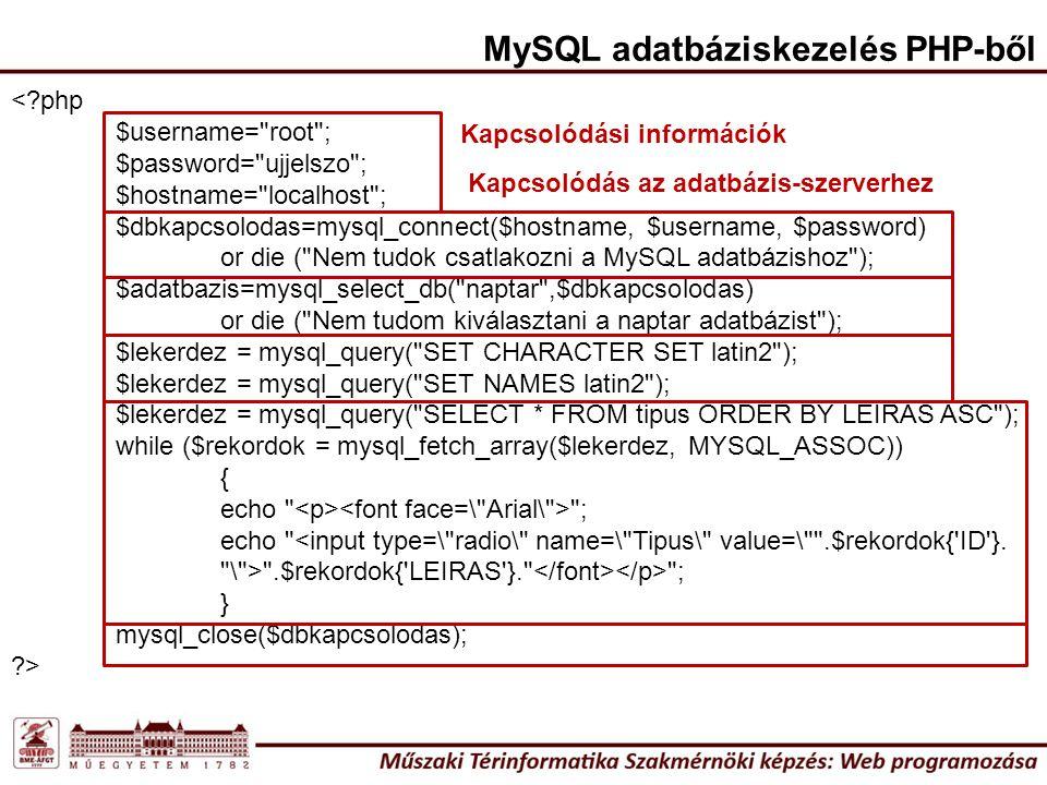 MySQL adatbáziskezelés PHP-ből