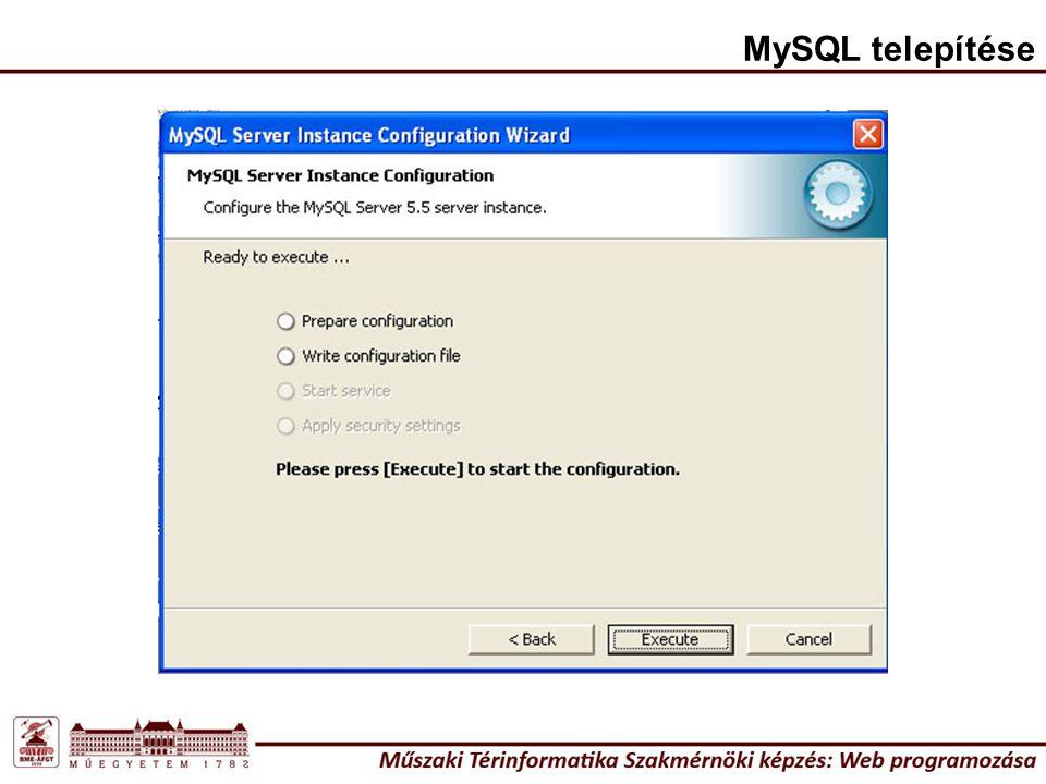 MySQL telepítése