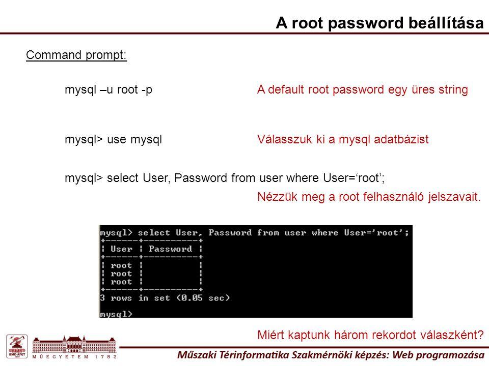 A root password beállítása