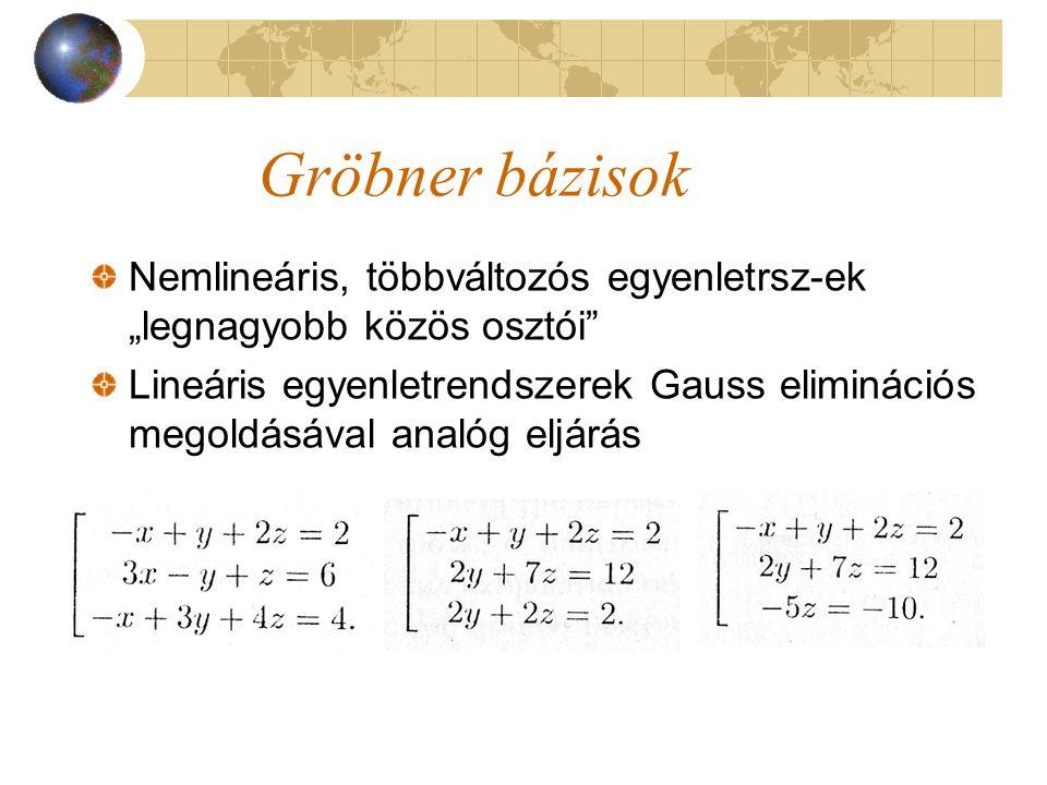 """Gröbner bázisok Nemlineáris, többváltozós egyenletrsz-ek """"legnagyobb közös osztói"""