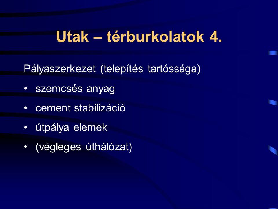 Utak – térburkolatok 4. Pályaszerkezet (telepítés tartóssága)