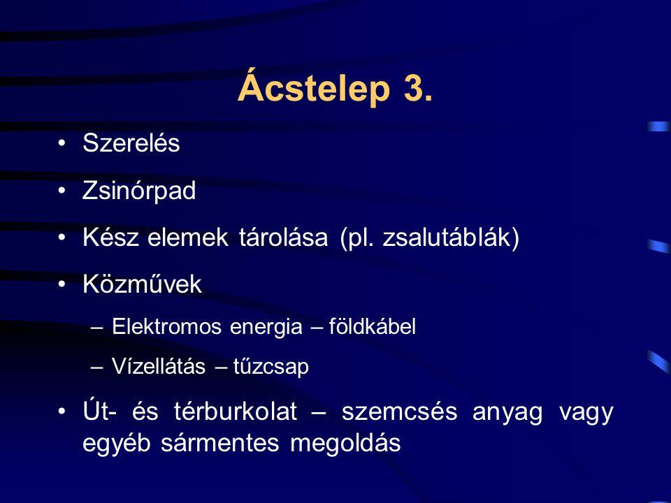 Ácstelep 3. Szerelés Zsinórpad Kész elemek tárolása (pl. zsalutáblák)