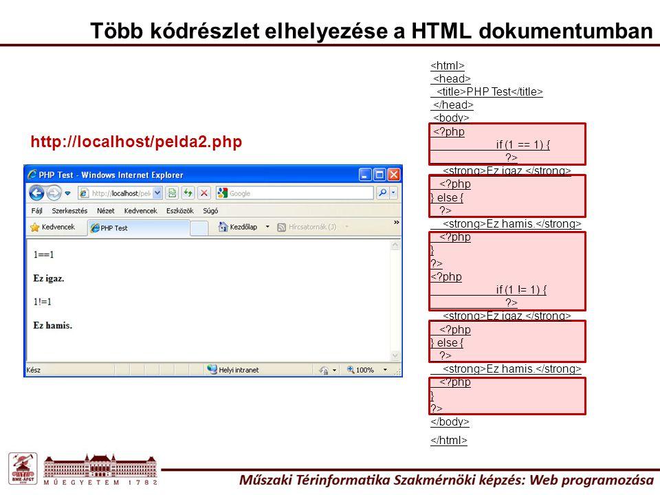 Több kódrészlet elhelyezése a HTML dokumentumban