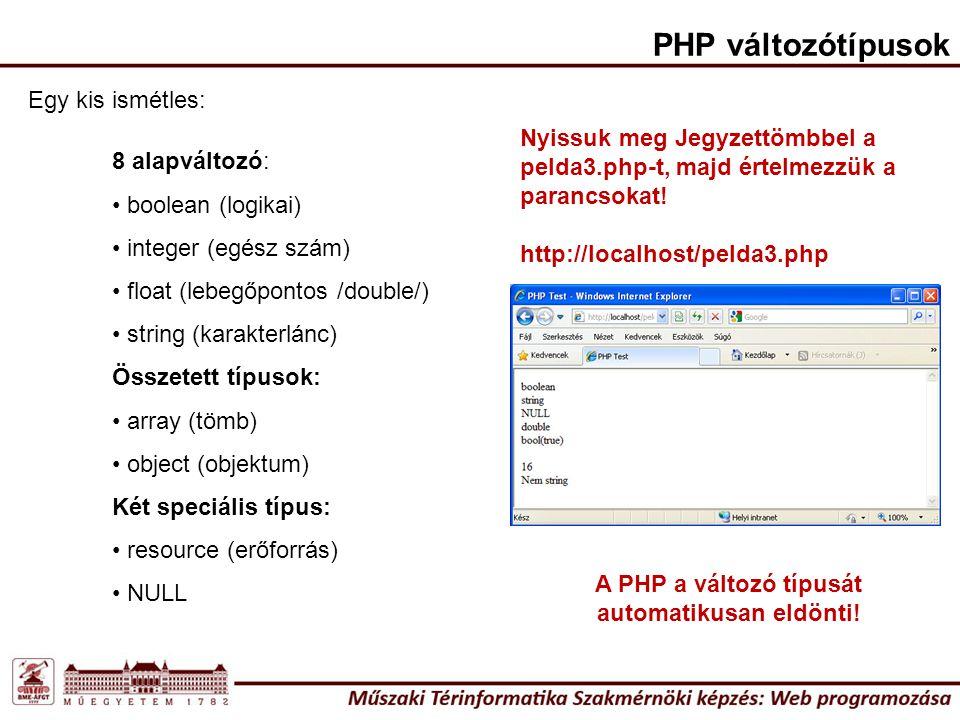 A PHP a változó típusát automatikusan eldönti!