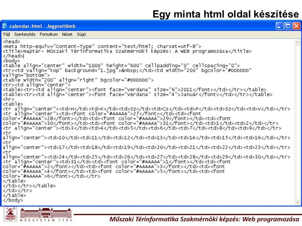 Egy minta html oldal készítése