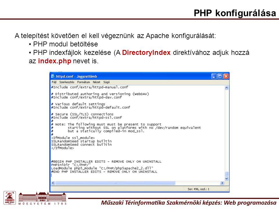 PHP konfigurálása A telepítést követően el kell végeznünk az Apache konfigurálását: PHP modul betöltése.