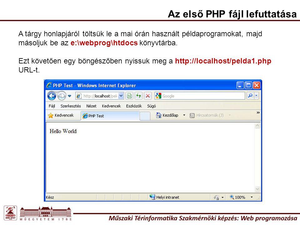 Az első PHP fájl lefuttatása