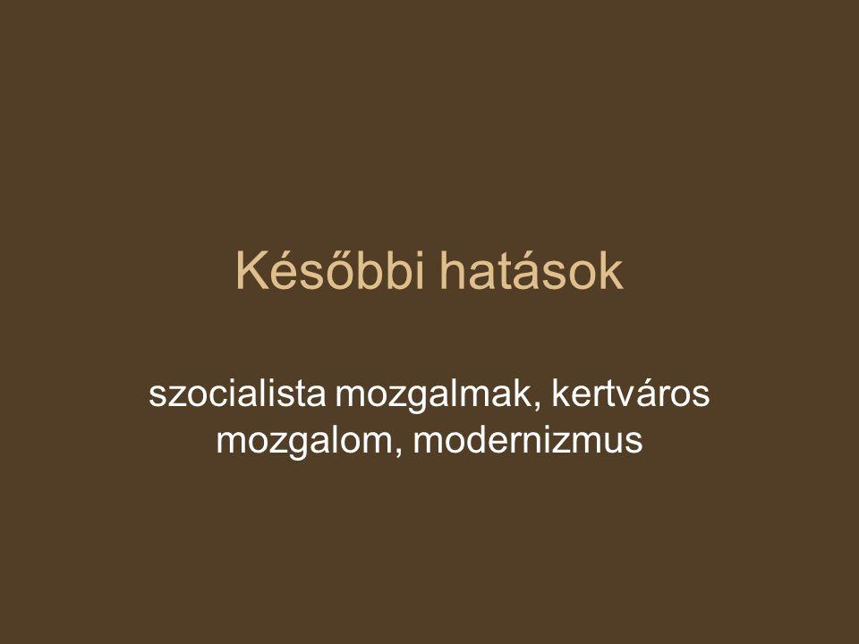 szocialista mozgalmak, kertváros mozgalom, modernizmus