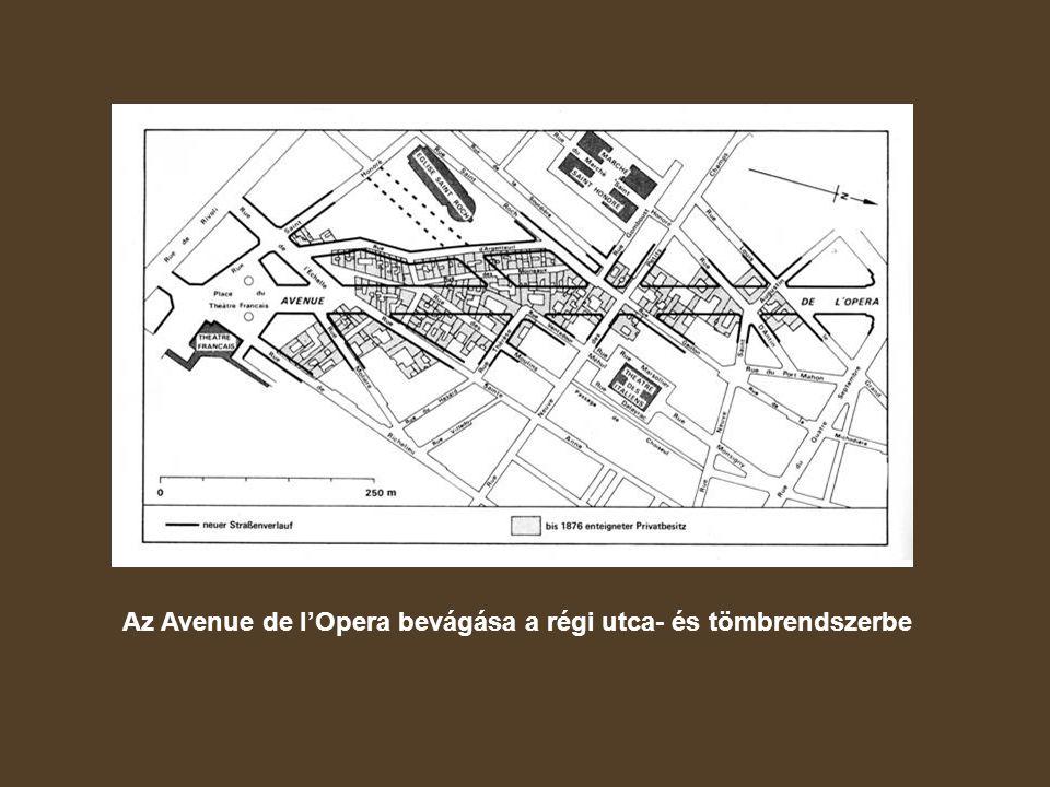 Az Avenue de l'Opera bevágása a régi utca- és tömbrendszerbe