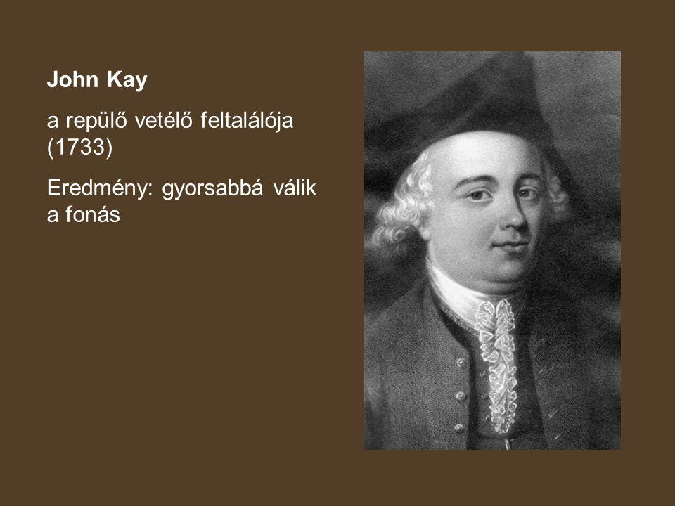 John Kay a repülő vetélő feltalálója (1733) Eredmény: gyorsabbá válik a fonás