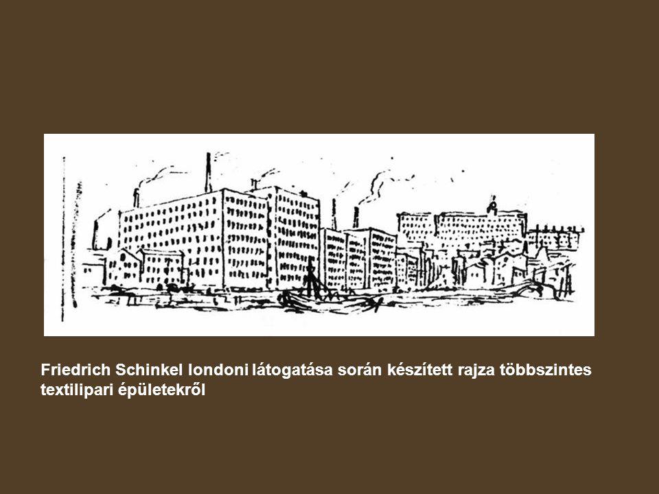 Friedrich Schinkel londoni látogatása során készített rajza többszintes textilipari épületekről