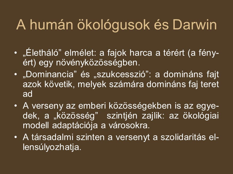 A humán ökológusok és Darwin