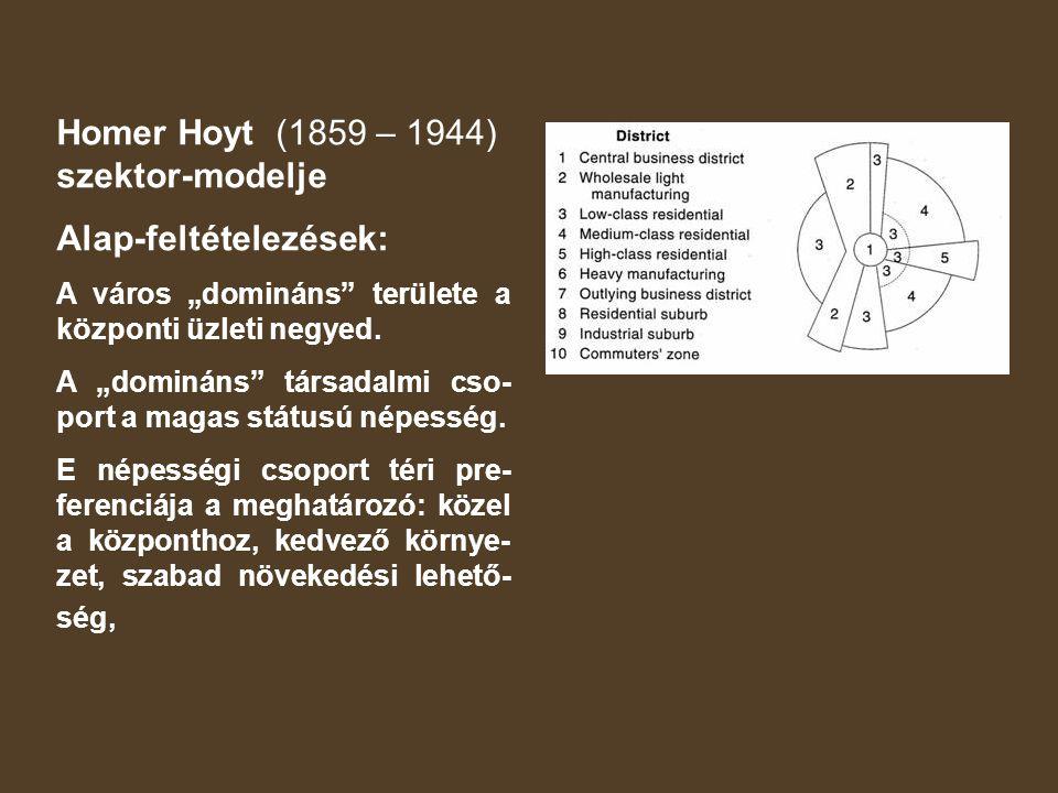 Homer Hoyt (1859 – 1944) szektor-modelje Alap-feltételezések: