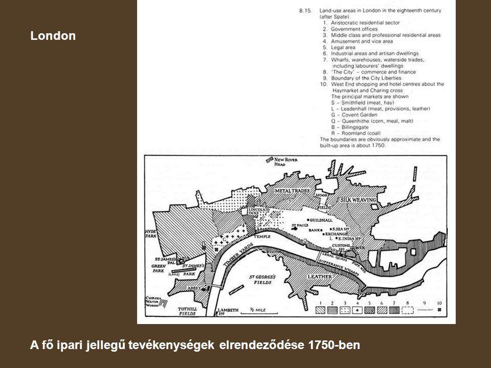 London A fő ipari jellegű tevékenységek elrendeződése 1750-ben