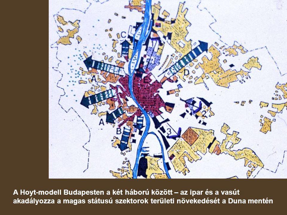 A Hoyt-modell Budapesten a két háború között – az ipar és a vasút akadályozza a magas státusú szektorok területi növekedését a Duna mentén
