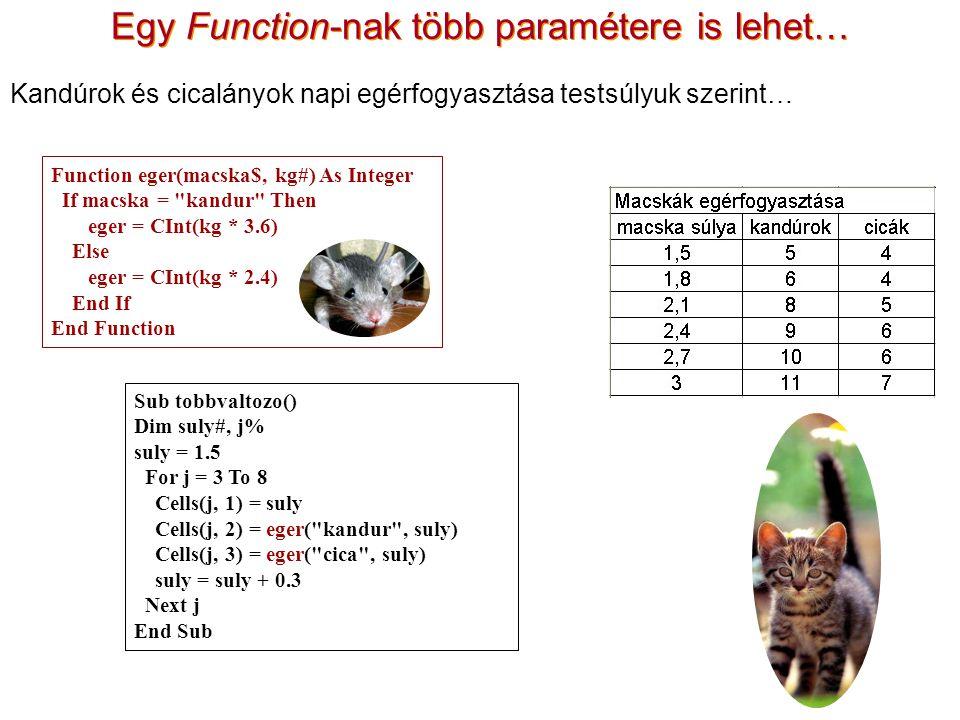 Egy Function-nak több paramétere is lehet…
