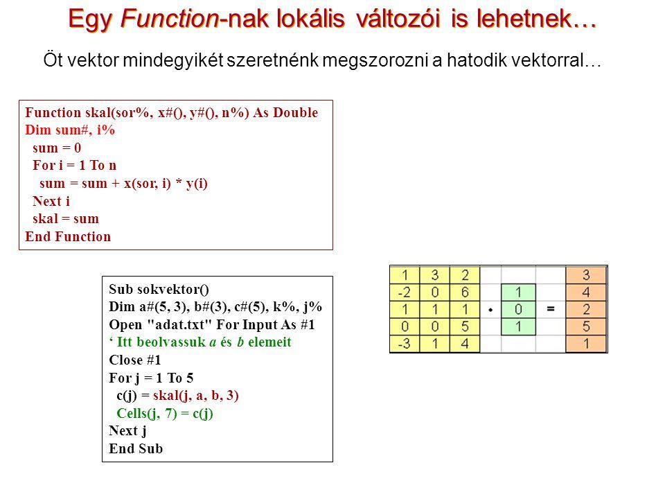 Egy Function-nak lokális változói is lehetnek…