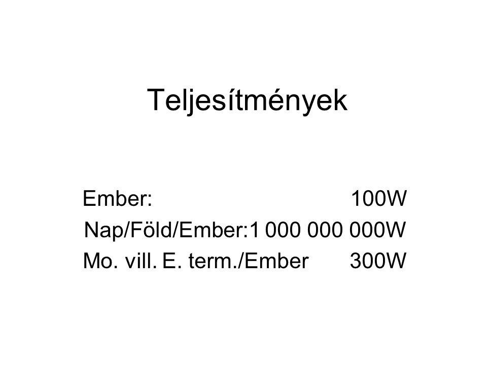 Teljesítmények Ember: 100W Nap/Föld/Ember:1 000 000 000W