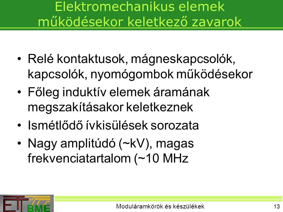 Elektromechanikus elemek működésekor keletkező zavarok