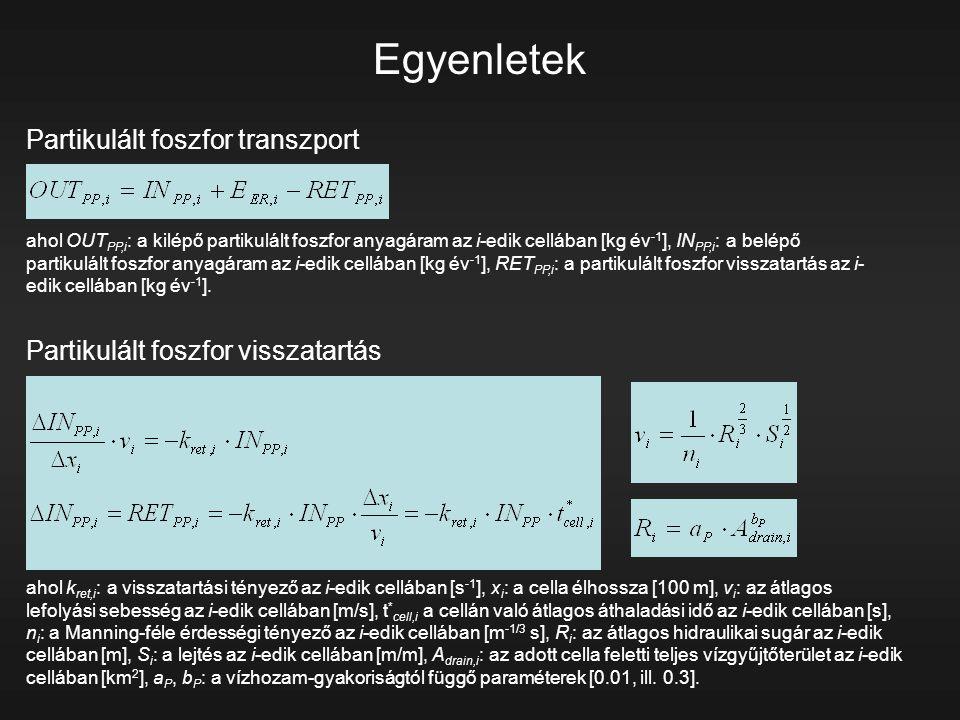 Egyenletek Partikulált foszfor transzport