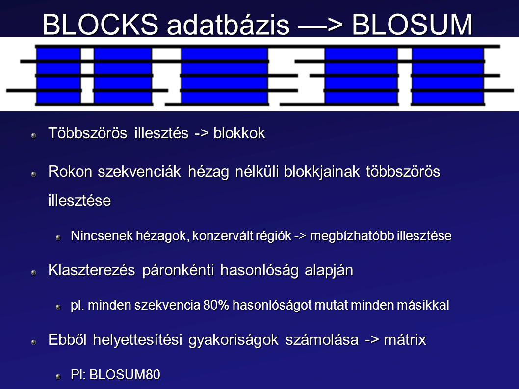 BLOCKS adatbázis —> BLOSUM