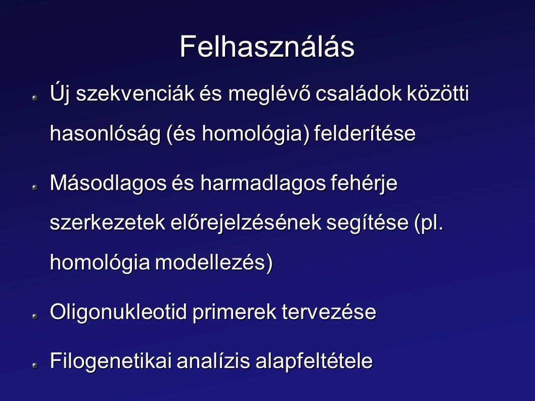 Felhasználás Új szekvenciák és meglévő családok közötti hasonlóság (és homológia) felderítése.
